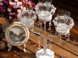 铁艺白色串珍珠三头烛台家居婚庆酒店西餐家居摆件889-3N,婚庆,