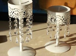 铁艺白色镂空烛台坠亚克力餐厅婚庆装饰品高矮两件套814AB,婚庆,