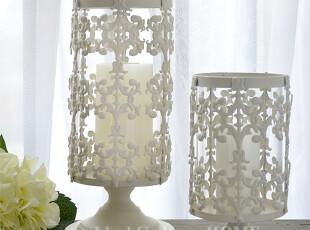 新 欧式美式摆件新古典摆设结婚礼物白色铁艺镂空雕花烛台,婚庆,