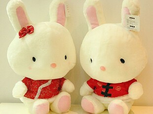 米西公主情侣兔子 唐装兔 婚纱情侣兔 毛绒玩具 压床兔兔结婚礼物,婚庆,