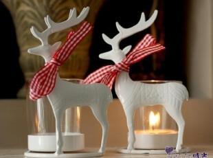 铁艺小鹿烛台带玻璃烛杯婚庆西餐家居摆件装饰654N两色可选,婚庆,