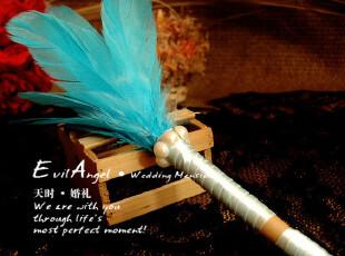 秋冰蓝の祝愿/羽毛系列/结婚签字笔/油性签到笔/金色签名笔,婚庆,
