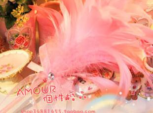 QDB-28 天然羽毛签到笔/淡粉色羽毛结婚签到笔/婚礼必备/,婚庆,