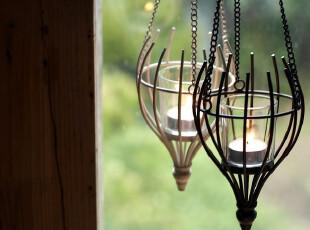 柔软时光 欧式铁艺玻璃烛台吊灯 浪漫婚庆挂饰品时尚家居摆件,婚庆,