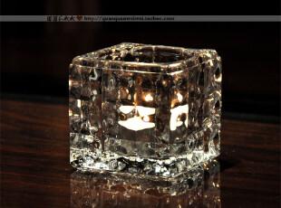 冰块形水晶玻璃烛台/酒吧餐厅摆设/婚庆浪漫装饰/七夕礼物/礼品,婚庆,
