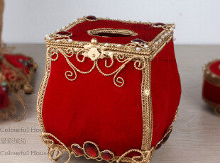奢华欧式红色方形纸巾盒/抽纸盒 创意家居 纸巾筒 结婚礼物礼品,婚庆,