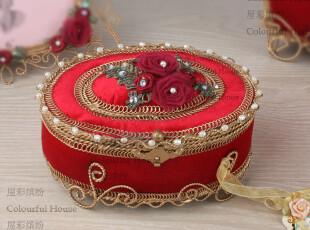 奢华欧式红色首饰盒/珠宝盒 宫廷公主装饰盒 时尚高档结婚礼品,婚庆,