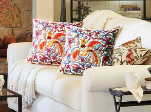 靠枕靠垫客厅沙发背靠结婚礼品婚房装饰 绣花抱枕 4款可选 含芯,婚庆,