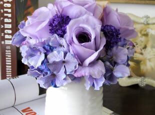 光影新品紫色罗威娜玫瑰花苞套装花假花仿真花绢花玫瑰花婚庆,婚庆,