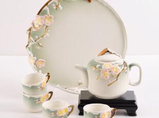 活器 雪中梅陶瓷功夫茶具结婚礼品茶盘套装 日式茶杯 整套茶具,婚庆,