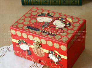 推光漆器首饰盒木质化妆盒首饰收纳盒三层婚庆用品生日礼物 摆件,婚庆,