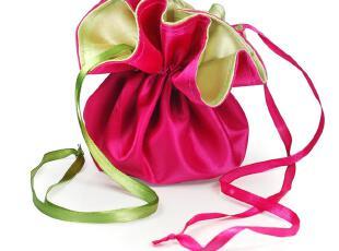 幸福的烧麦锦缎喜糖袋子-桃绿|婚庆双面糖果袋|欧式创意喜糖盒子,婚庆,