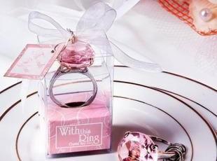 结婚礼物 婚庆婚礼用品 结婚礼品回礼 情人节礼物 粉色钻戒钥匙扣,婚庆,