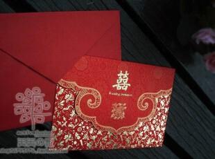 清仓 中国红系列 结婚高档婚卡 印花金色卡 结婚2用祝福卡 {H08},婚庆,