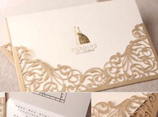 创意2012韩式请帖金色欧式喜帖结婚请柬婚礼用品个性定制CW1016,婚庆,