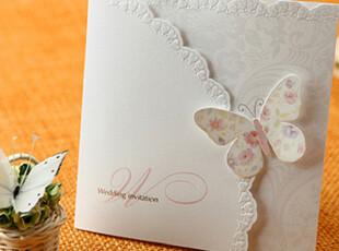 唯思美 韩国巴伦森婚卡 结婚请柬 婚庆请帖 韩式蝴蝶喜帖W1134,婚庆,