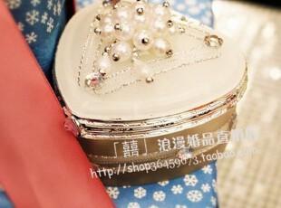 『红盒子』喜糖包装婚礼用品 婚庆 心形带钻珍珠装饰喜糖盒 创意,婚庆,