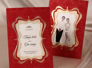 照片请帖韩式结婚请柬创意2012喜帖个性定制唯美婚礼用品CW1047,婚庆,
