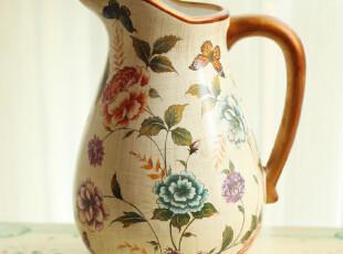 天猫玐玖琦珥家装家饰欧式彩绘花器花瓶结婚礼物仿真花器单耳陶瓷,婚庆,