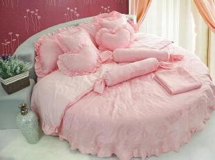 贡缎婚庆圆床床品五件套 公主粉圆床品套件定制 玫瑰盛典可定制,婚庆,