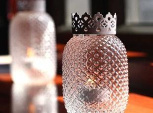柔软时光 欧式水晶菠萝型创意玻璃餐桌烛台摆件 浪漫婚庆婚礼用品,婚庆,