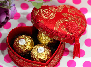 最新款绸缎【小号】心形喜糖锦盒/婚庆回礼创意中式红色喜糖盒子,婚庆,