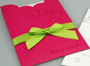 新款西式双色结婚请帖 玫红色款婚卡 婚礼请柬喜帖含信封送封口贴,婚庆,