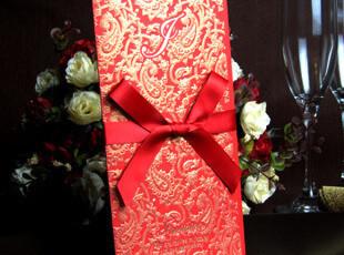 婚纱中式个性请帖红色请贴结婚请柬烫金浮雕喜帖手工婚卡WD2034,婚庆,