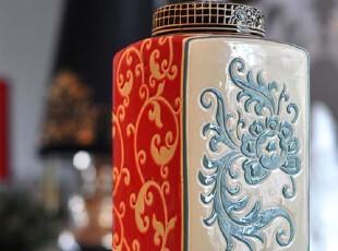 [东方雅致]欧式宫廷风 双面浮雕质感瓷罐 摆件乔迁婚庆,婚庆,