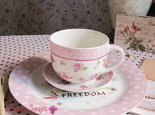 外贸新骨瓷早餐面碗汤杯情侣西餐生日结婚礼物水玉点碎花餐具套装,婚庆,