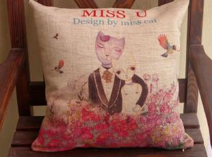 猫小姐的婚礼靠垫 靠枕 抱枕 结婚礼物 美式乡村棉麻靠垫,婚庆,