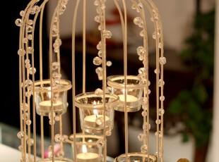 开张特价 白色铁艺鸟笼烛台家居婚庆烛台带6只玻璃杯可悬挂,婚庆,