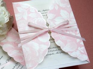 B1021西式结婚粉色定制喜帖个性请柬创意请帖婚庆双卡婚礼用品,婚庆,