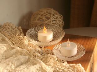 Fers'圣诞新品 菠萝纹玻璃烛杯 烛碟 婚庆装饰 派对用品 大小号,婚庆,