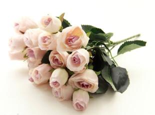 柔粉法式21头苞心小玫瑰仿真花假花装饰花假花婚庆玫瑰客厅装饰花,婚庆,