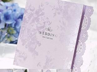 创意请帖高级定制紫色喜帖结婚请柬韩式婚礼个性喜贴欧式B0003,婚庆,