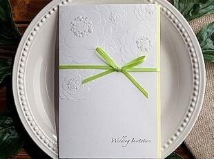 请帖结婚喜帖婚礼用品创意2012白色韩式婚庆个性请柬定制W1116,婚庆,
