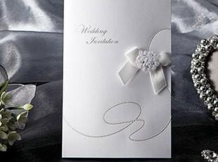 婚礼请柬白色韩国结婚请帖对折式请贴喜贴个性喜帖创意定制W1119,婚庆,