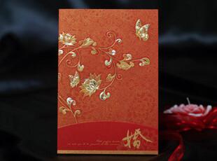 结婚请柬百年好合中式请帖请贴婚卡喜帖个性喜贴制烫金红色CW0017,婚庆,