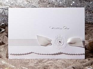 结婚请柬韩式请帖婚宴白色韩国个性喜帖定制三折西式喜贴W1117,婚庆,