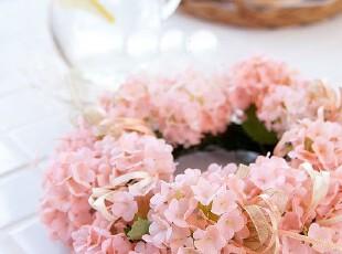 现货!韩国家居代购粉色婚庆绢花客厅门装饰仿真花环,婚庆,