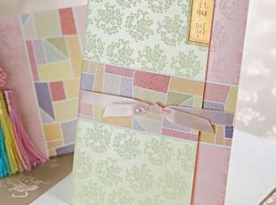 红喜帖结婚创意2012\韩式粉色请贴请帖喜贴婚宴请柬个性定制B0018,婚庆,