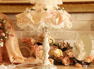 田园布艺蕾丝台灯卧室床头灯新结婚房庆台灯欧式可调光创意时尚,婚庆,