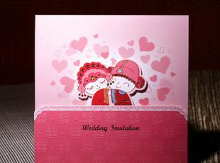 卡通请柬结婚喜帖请帖红色中式婚礼用品可爱个性定制请贴CW0053,婚庆,