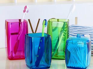 【7.9折】洗具套装 方形漱口杯+棉签盒 塑料棉棒盒结婚情侣刷牙杯,婚庆,