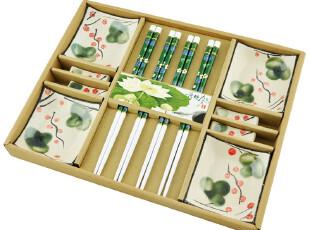 didalife 荷塘月色日式寿司竹筷子碟子礼盒餐具套装生日结婚礼物,婚庆,