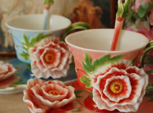 千棵树 珐琅瓷 天香国色牡丹杯盘组 配碟和勺子 结婚礼物,婚庆,