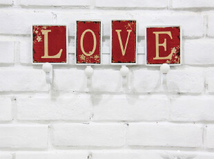 欧式乡村 结婚房红色装饰铁艺挂衣钩创意时尚挂钩 LOVE生日礼品,婚庆,
