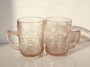 双喜牌复古董老式国产对杯怀旧雕花玻璃杯子创意个性礼品结婚礼物,婚庆,