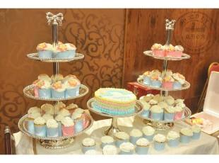 预定款 欧式蝴蝶结三层蛋糕盘/下午茶点心盘/蛋糕架子 婚庆用品,婚庆,